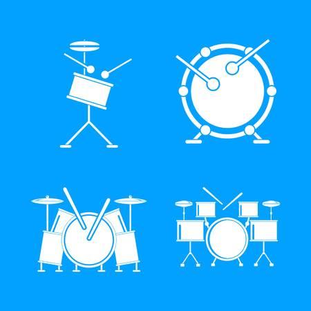 Drum rock kit music icons set. Simple illustration of 4 drum rock kit music vector icons for web
