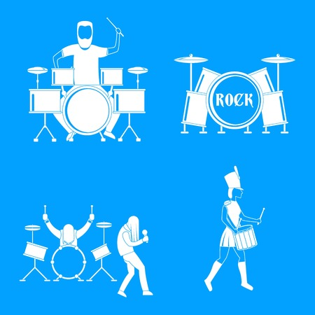 Drummer drum rock musician icons set. Simple illustration of 4 drummer drum rock musician vector icons for web Illustration