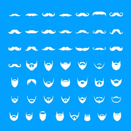 Mustache and beard icons set. Simple illustration of 50 mustache and beard vector icons for web Ilustração