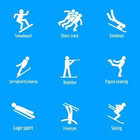 Winter sport symbols icons set. Simple illustration of 15 winter sport symbols vector icons for web Illustration