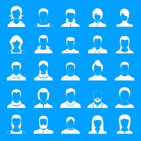 Avatar user icon set. Simple illustration of 25 avatar user vector icons for web