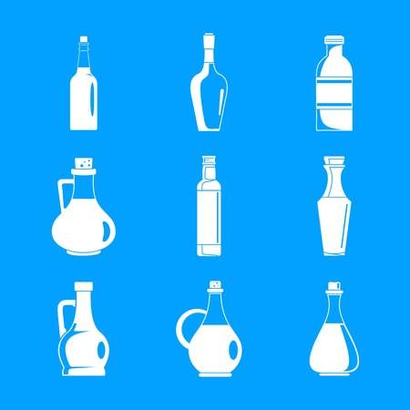 Vinegar bottle icons set. Simple illustration of 9 vinegar bottle icons for web Archivio Fotografico - 110042258