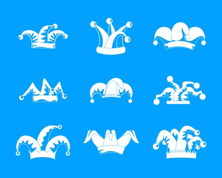 Jester fools hat icons set. Simple illustration of 9 Jester fools hat vector icons for web Illusztráció