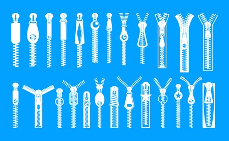 Zipper puller lock icons set, simple style Illusztráció