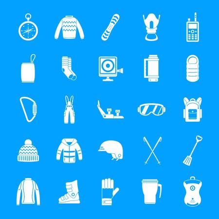 Snowboarding equipment ski winter snow icons set. Simple illustration of 25 snowboarding equipment ski winter snow vector icons for web