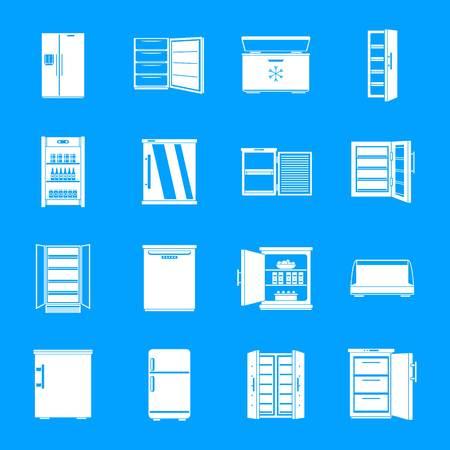 Freezer fridge frozen ice icons set. Simple illustration of 16 freezer fridge frozen ice vector icons for web