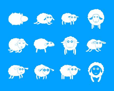 Sheep cute lamb farm icons set. Simple illustration of 12 sheep cute lamb farm vector icons for web