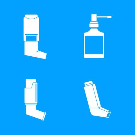 Inhaler breather deep breath health care asthma icons set. Simple illustration of 4 Inhaler breather deep breath health care asthma vector icons for web Vectores