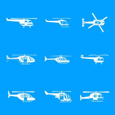Helicopter military aircraft chopper icons set. Simple illustration of 9 helicopter military aircraft chopper vector icons for web Ilustrace