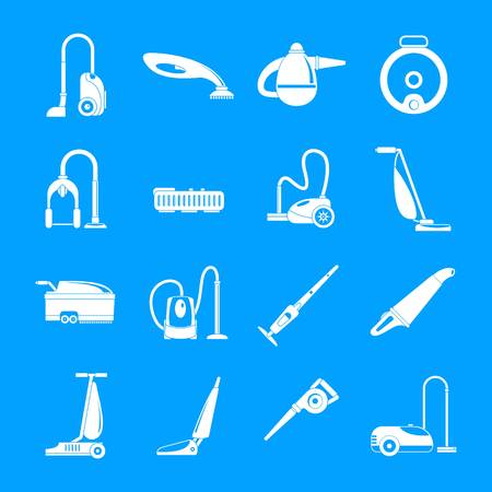 Vacuum cleaner washing appliance icons set. Simple illustration of 16 vacuum cleaner washing appliance vector icons for web Vectores