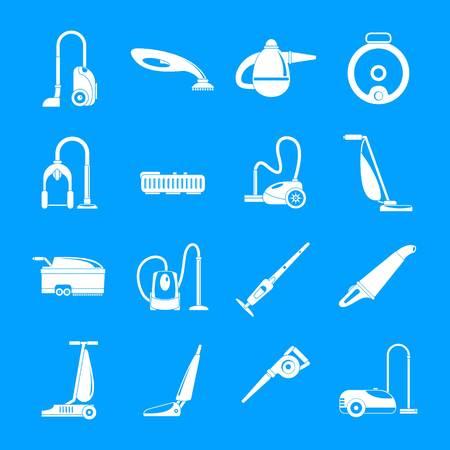 Vacuum cleaner washing appliance icons set. Simple illustration of 16 vacuum cleaner washing appliance vector icons for web Illustration