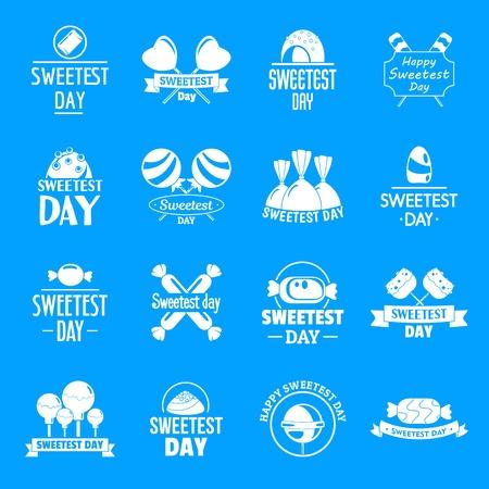 Tasty candy logo set, simple style