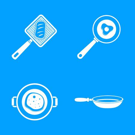 Kitchen griddle icon set. Simple set of kitchen griddle vector icons for web design on white background