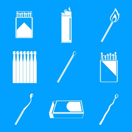 Safety match ignite burn icons set. Simple illustration of 9 safety match ignite burn vector icons for web Imagens