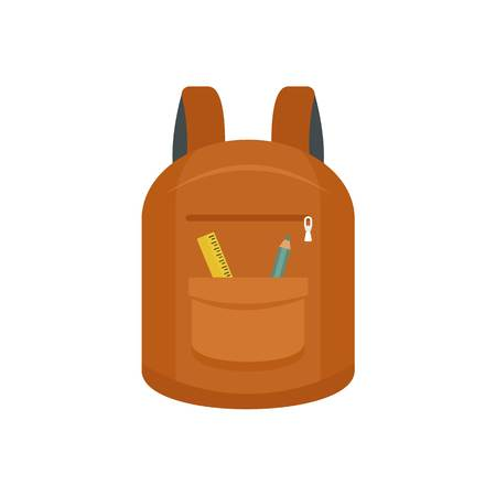 College backpack icon. Flat illustration of college backpack vector icon for web design