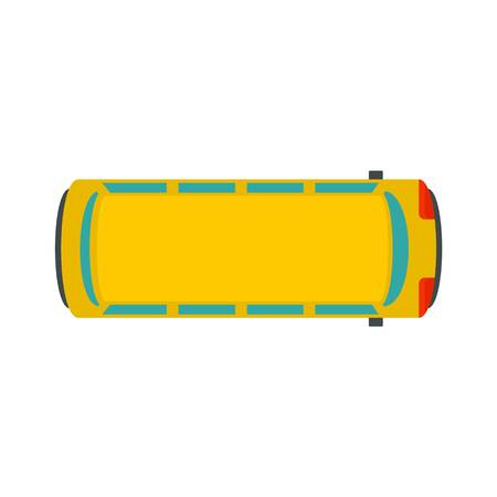 Top view school bus icon. Flat illustration of top view school bus vector icon for web design Çizim