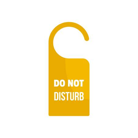 Room hanger disturb tag icon. Flat illustration of room hanger disturb tag vector icon for web design