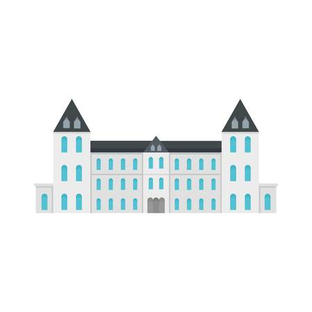 White royal castle city icon. Flat illustration of white royal castle city vector icon for web design