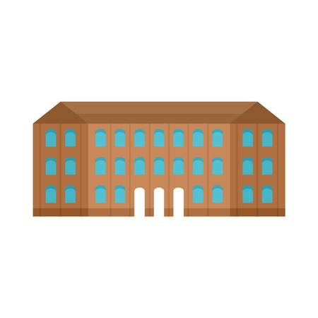 Historical vintage old building icon. Flat illustration of historical vintage old building vector icon for web design