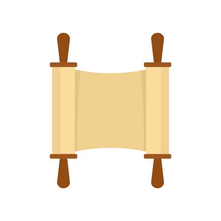 Rolled open brown papyrus icon. Flat illustration of rolled open brown papyrus vector icon for web design