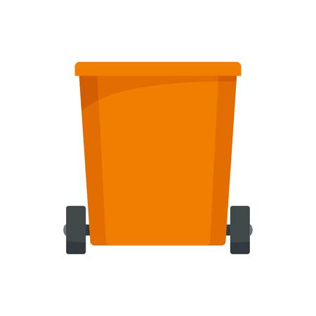 Orange trash can icon. Flat illustration of orange trash can vector icon for web design Illustration