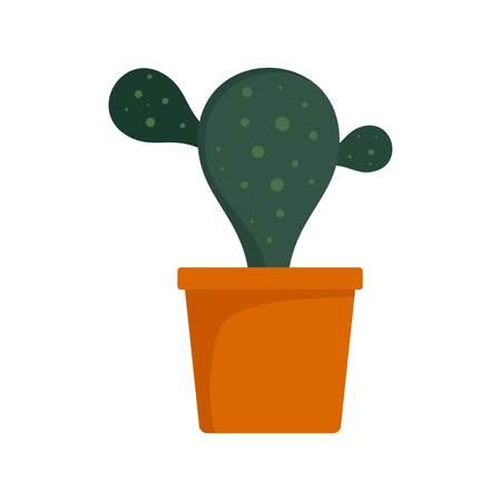 Natural cactus pot icon. Flat illustration of natural cactus pot vector icon for web design