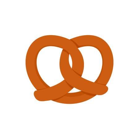 German pretzel icon, flat style