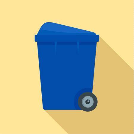 Blue garbage box icon, flat style Stock Photo
