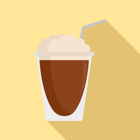 Latte plastic cup icon, flat style Stock Photo