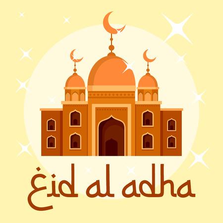 Eid al adha islamic festival background, flat style