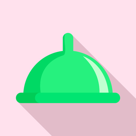 Green condom icon, flat style