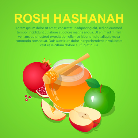 Rosh hashanah concept background. Isometric of rosh hashanah concept background for web design