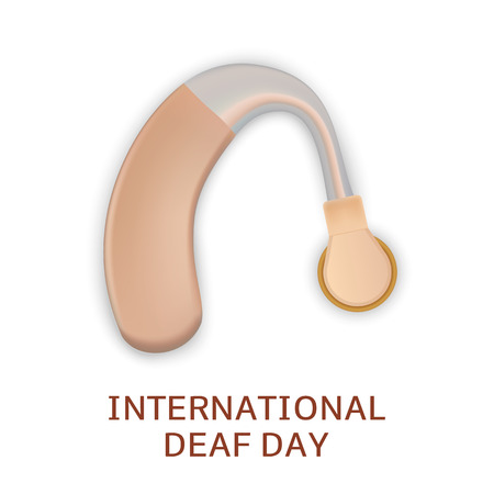 Global deaf day concept background. Realistic illustration of global deaf day concept background for web design Banco de Imagens