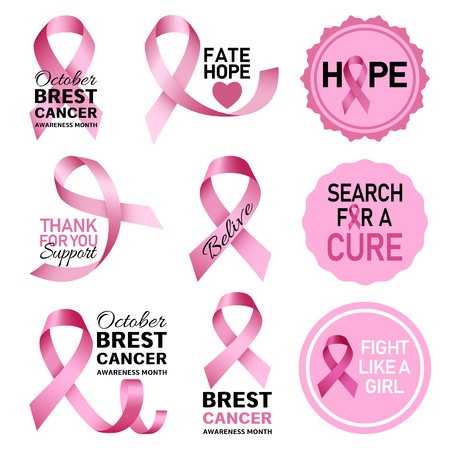 Breast cancer logo set. Realistic set of breast cancer logos for web design isolated on white background Stock Photo - 108431205
