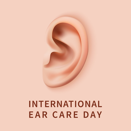 Ear care day concept background. Realistic illustration of ear care day concept background for web design