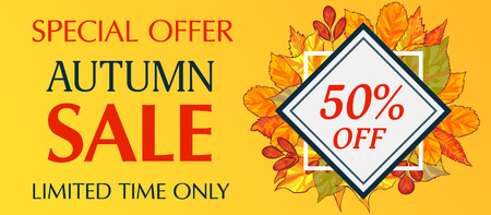 Limited time only autumn sale banner horizontal. Cartoon illustration of limited time only autumn sale banner horizontal for web design Banco de Imagens