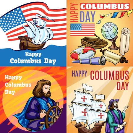 Columbus day banner set. Cartoon illustration of columbus day vector banner set for web design