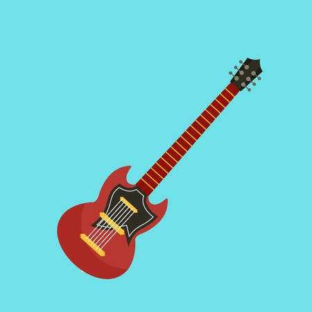 Electric guitar icon, flat style Stock Photo