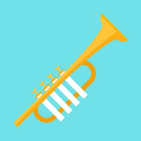 Icono de trompeta de oro, estilo plano