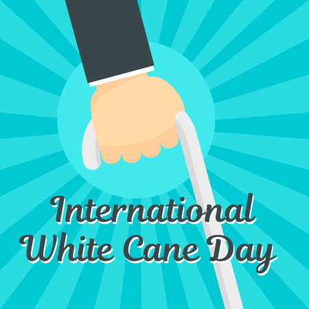 White cane day concept background, flat style