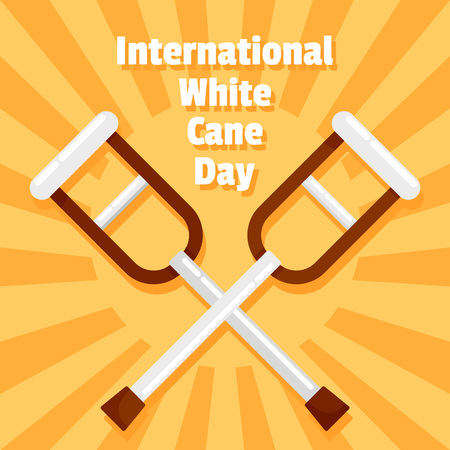 International white cane day concept background, flat style Imagens