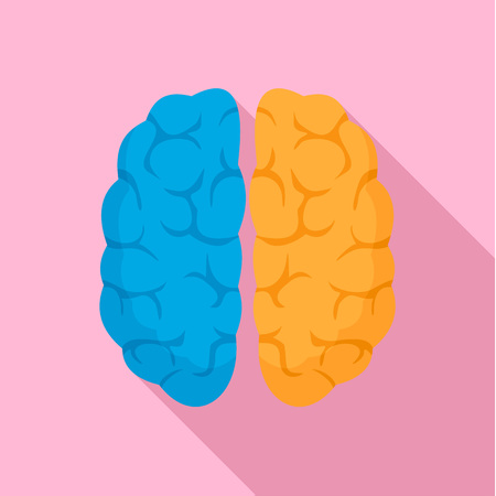 Mind brain icon, flat style Stock Photo