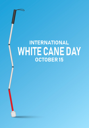 International white cane day concept banner, realistic style Imagens - 108742362