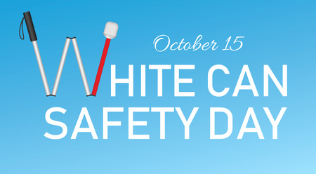 White cane october day concept banner, realistic style