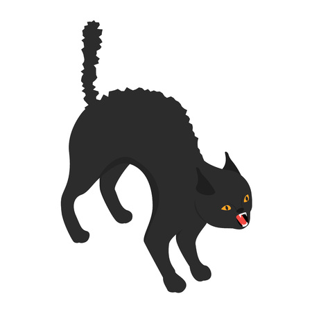Black scary cat icon, isometric style