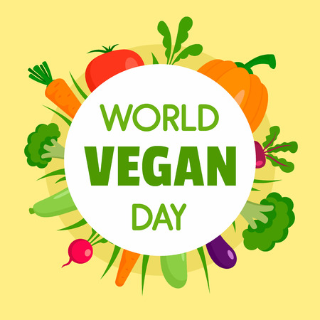 Happy vegan day concept background, flat style Illustration