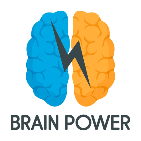 Light brain power logo, flat style