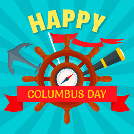 October columbus day concept background, flat style