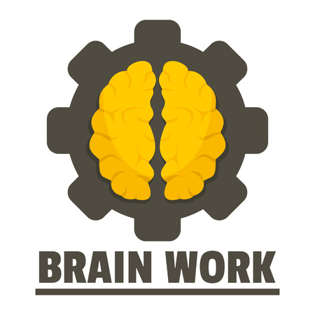 Logic brain work logo, flat style