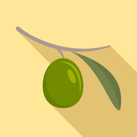 Green olive icon. Flat illustration of green olive vector icon for web design